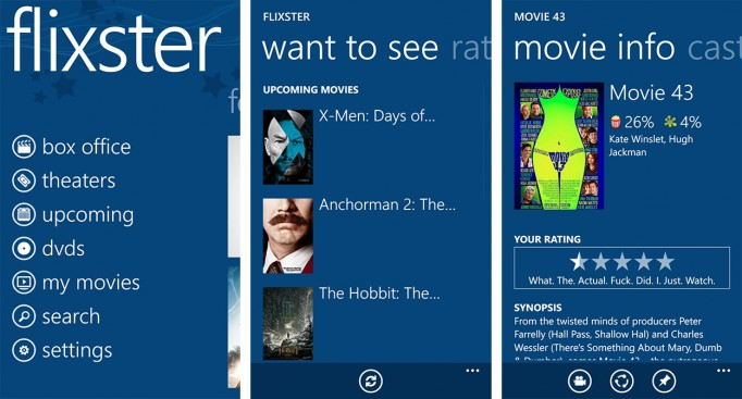 Flixster Windows phone apps