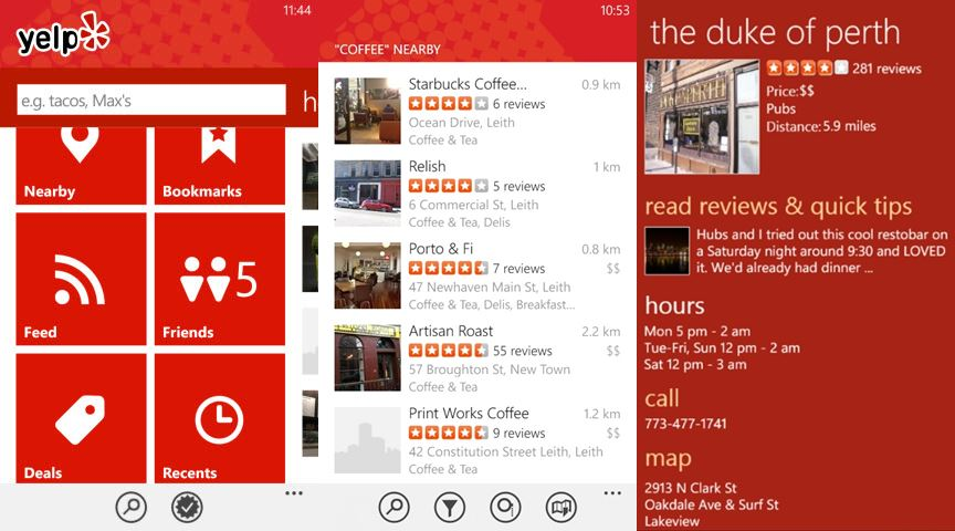 Yelp best free windows phone apps