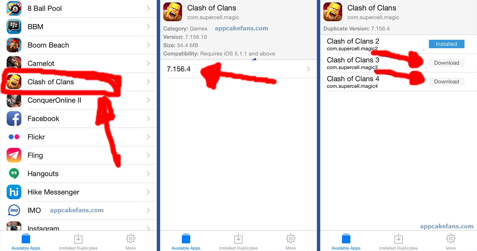 2 Clash of Clans accounts on iOS Apple device